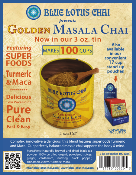 Announcing Blue Lotus Chai Release Of Golden Masala Chai Tin- 100 servings in 3oz 3 inch x 3 inch tin