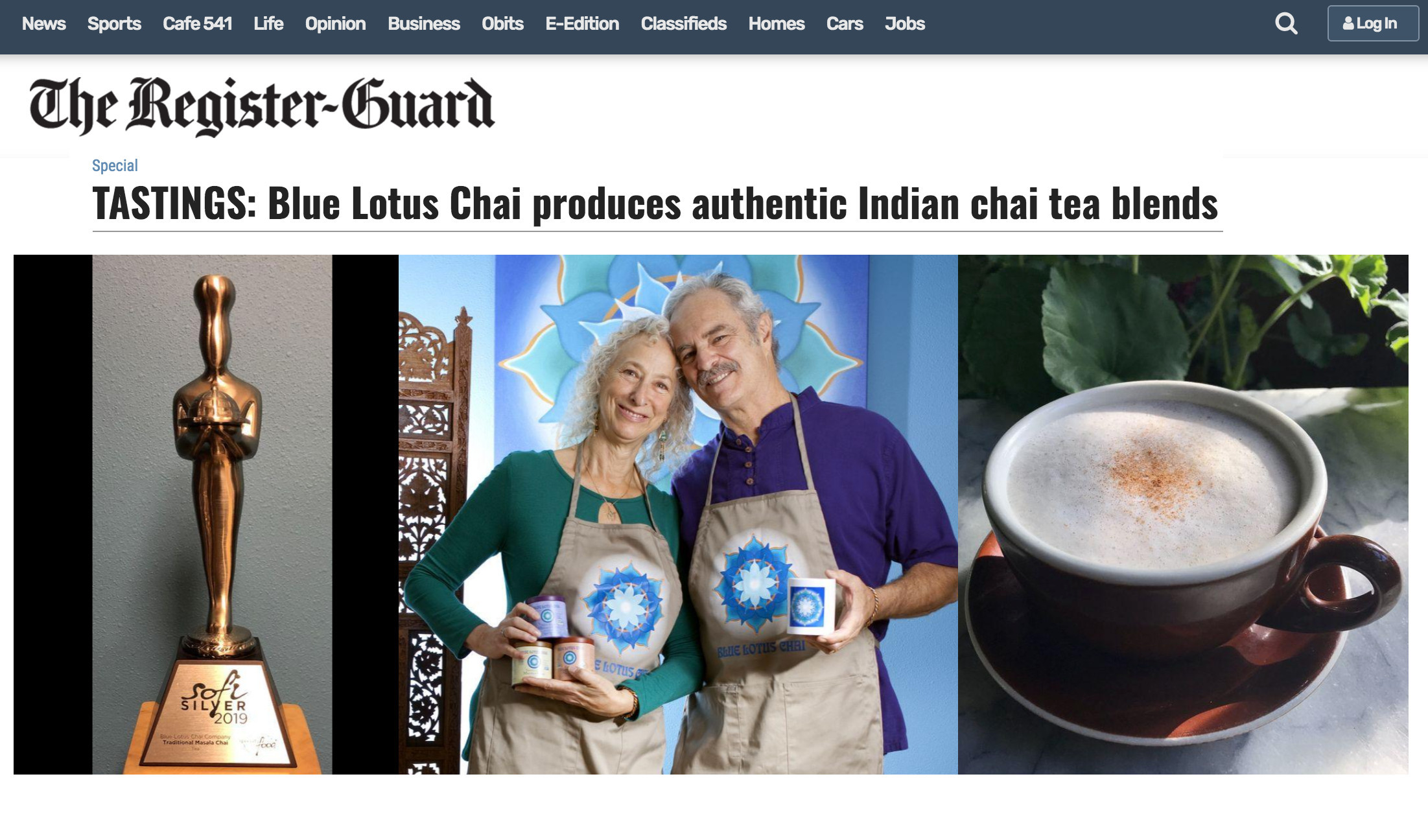 Blue Lotus Chai featured in Register Guard